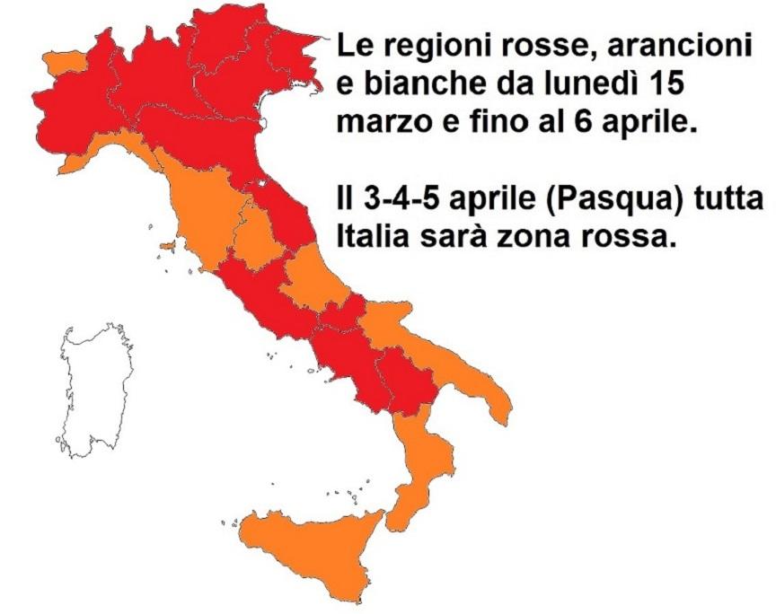 lockdown di pasqua: colori delle regioni dal 15 marzo al 6 aprile
